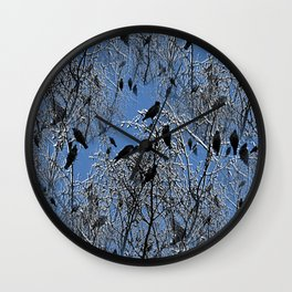 Birds on frosty branches Wall Clock