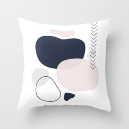 Navy Blush and Grey Smooth Shapes Throw Pillow