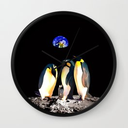 Penguins on the Moon Wall Clock