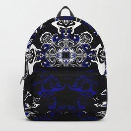 Dark Blue, Black, and White Pattern Backpack