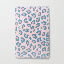Leopard Print - Peachy Blue Metal Print