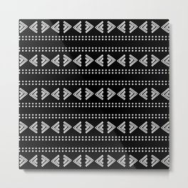 Hand Drawn Black and White Tribal Pattern Design Throw Pillow Metal Print