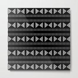 Hand Drawn Black and White Tribal Pattern Design Throw Pillow Metal Print