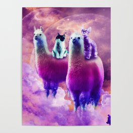 Kitty Cat Riding On Rainbow Llama In Space Poster