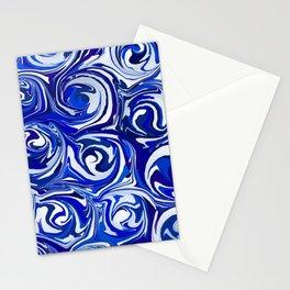 China Blue Paint Swirls Stationery Cards