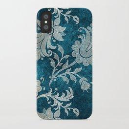 Aqua Teal Vintage Floral Damask Pattern iPhone Case