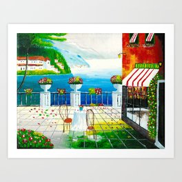 Cafe in Taormina, Italy Art Print