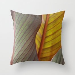 Canna Lily Leaves Throw Pillow