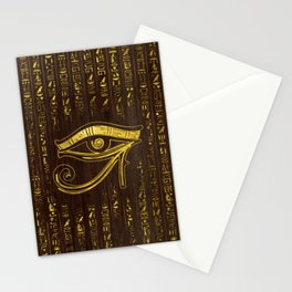 Golden Egyptian Eye of Horus  and hieroglyphics on wood Stationery Cards