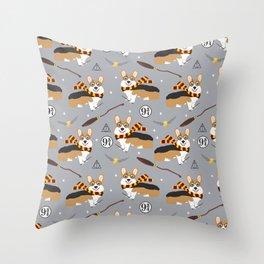 corgi wizard welsh corgis potter wizarding school pattern Throw Pillow