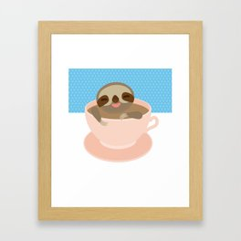 Sloth in a Pink cup coffee, tea, Three-toed sloth Framed Art Print