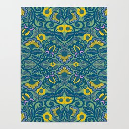 Blue Vines and Folk Art Flowers Pattern Poster