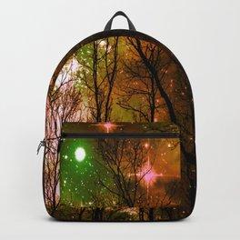 Black Trees Peach Brown Green Space Backpack