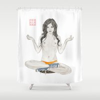 converse Shower Curtains featuring Converse Buddha by Bryan James