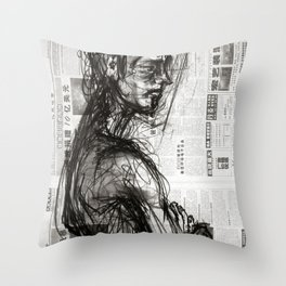 Waiting - Charcoal on Newspaper Figure Drawing Throw Pillow