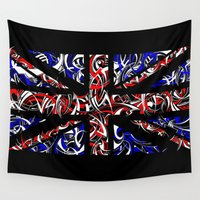 union jack Wall Tapestries featuring Union Jack (black) by David T Eagles