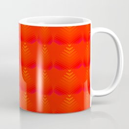 Mother of pearl pattern of red hearts and stripes on a ruby background. Coffee Mug