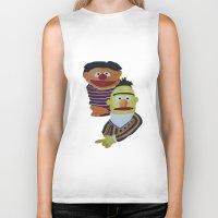 sesame street Biker Tanks featuring Sesame Street Bert and Ernie by ArtSchool