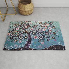 abstract Art Landscape Original Painting ... Dancing In the Light Rug