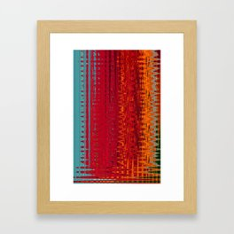 Warm red & turquoise Floor Pattern Art Framed Art Print