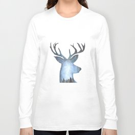 Deer in the Arctic Stary Night Long Sleeve T-shirt