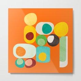 Geometric mid century modern orange shapes Metal Print