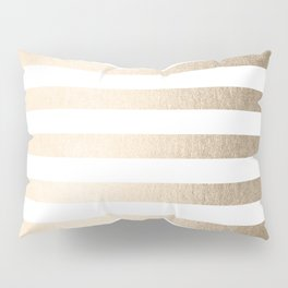 Simply Striped in White Gold Sands Pillow Sham