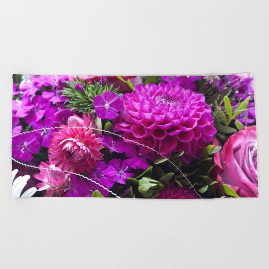 Pink flower bouquet #1 #decor #art #society6 Beach Towel