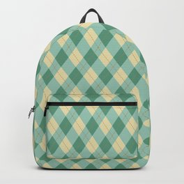 Yellow-Teal Argyle Pattern Backpack