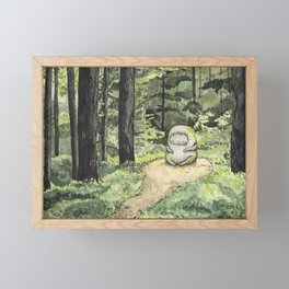 Statue in a Forest Watercolor Painting Framed Mini Art Print
