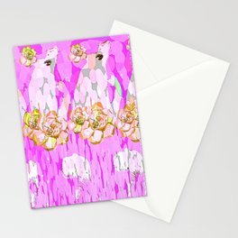 PINK ROSES AND GIRLS Stationery Cards