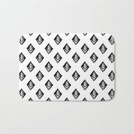 Linocut scandinavian minimal black and white trees camping pattern minimalist art Bath Mat