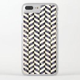 Herringbone in black and white Clear iPhone Case