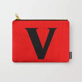 v (BLACK & RED LETTERS) Carry-All Pouch