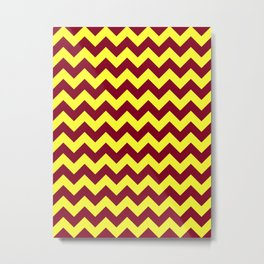 Electric Yellow and Burgundy Red Horizontal Zigzags Metal Print