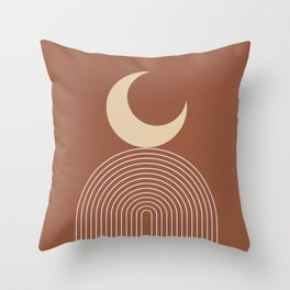 Geometric Lines in Terracotta and Beige 18 (Rainbow and Moon Abstraction) Throw Pillow