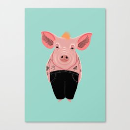 Cool Pig with Tattoos Canvas Print