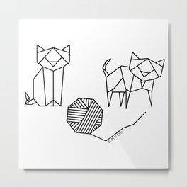 Geometrical Kitty Partern Metal Print