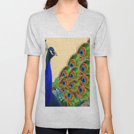 BLUE PEACOCK CREAM COLOR ART Unisex V-Neck
