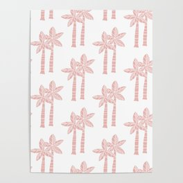 Palm Tree Pattern Dusty Rose 3 Poster