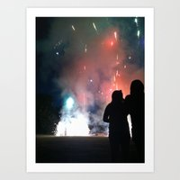fireworks Art Prints featuring Fireworks by Joseph Crawford