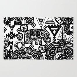 Beautiful boho pattern Indian Elephant with ornamental. Hand drawn ethnic tribal decorated Elephant Rug