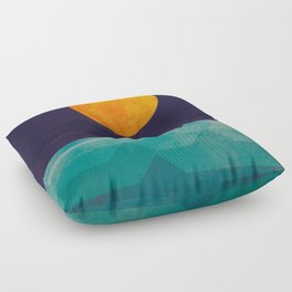 The ocean, the sea, the wave - night scene Floor Pillow