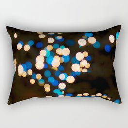 Blue Orange Yellow Bokeh Blurred Lights Shimmer Shiny Dots Spots Circles Out Of Focus Rectangular Pillow