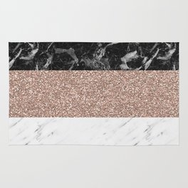 Marble stripes - Deauville rose gold Rug