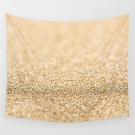 Beautiful champagne gold glitter sparkles Wall Tapestry