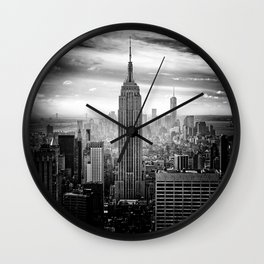 New york city black white 2 Wall Clock