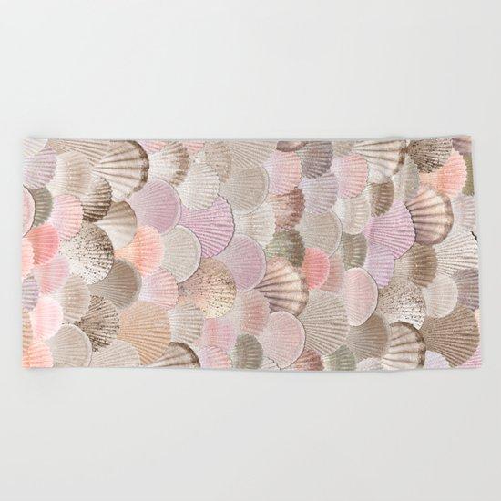 MERMAID SHELLS - CORAL ROSEGOLD Beach Towel