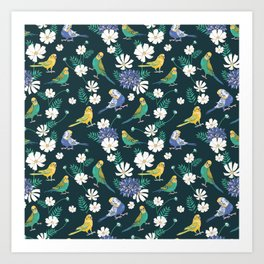 Budgies and Cosmos Flowers on Dark Green Art Print