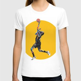 Harden Brooklyn Basketball Player Oil Painting and Graphic Design Yellow Background  T-shirt